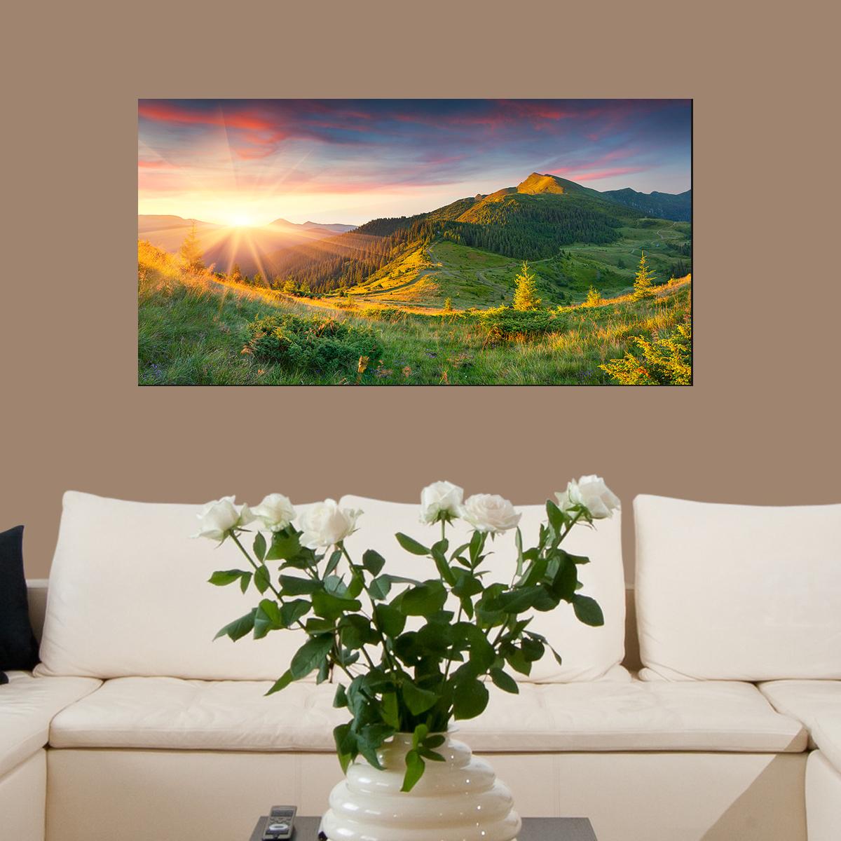 papier peint magn tique sticker papier peint magn tique coucher de soleil montagne ambiance. Black Bedroom Furniture Sets. Home Design Ideas