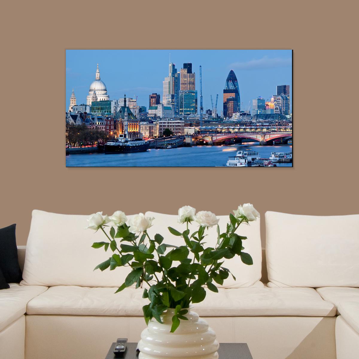 papier peint magn tique sticker papier peint magn tique vue de londres ambiance. Black Bedroom Furniture Sets. Home Design Ideas