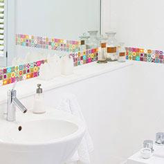 Stickers salle de bain stickers d co douche sticker - Stickers sur carrelage salle de bain ...