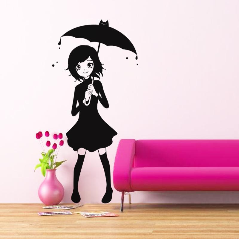 sticker manga fille sous la pluie stickers dessins anim s ambiance sticker. Black Bedroom Furniture Sets. Home Design Ideas