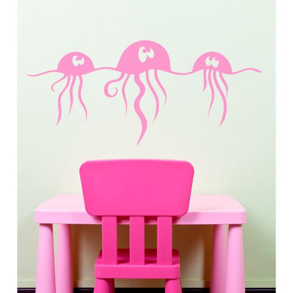 stickers avec des m duses dr le dans l 39 eau. Black Bedroom Furniture Sets. Home Design Ideas