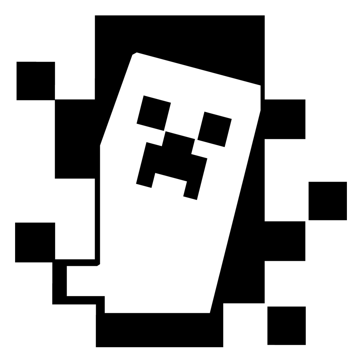 The gallery for black and white minecraft creeper clipart for Stickers muraux