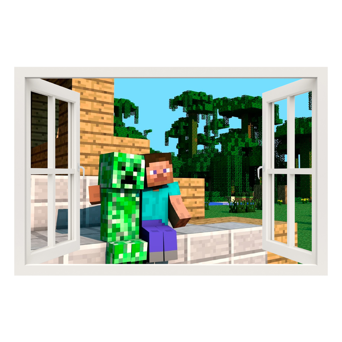 Stickers muraux pour les enfants sticker minecraft game - Minecraft creeper and steve ...