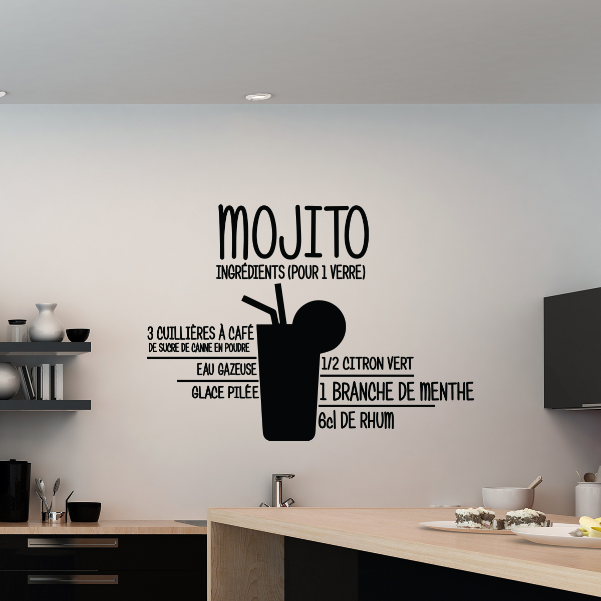 sticker mojito stickers cuisine ambiance. Black Bedroom Furniture Sets. Home Design Ideas