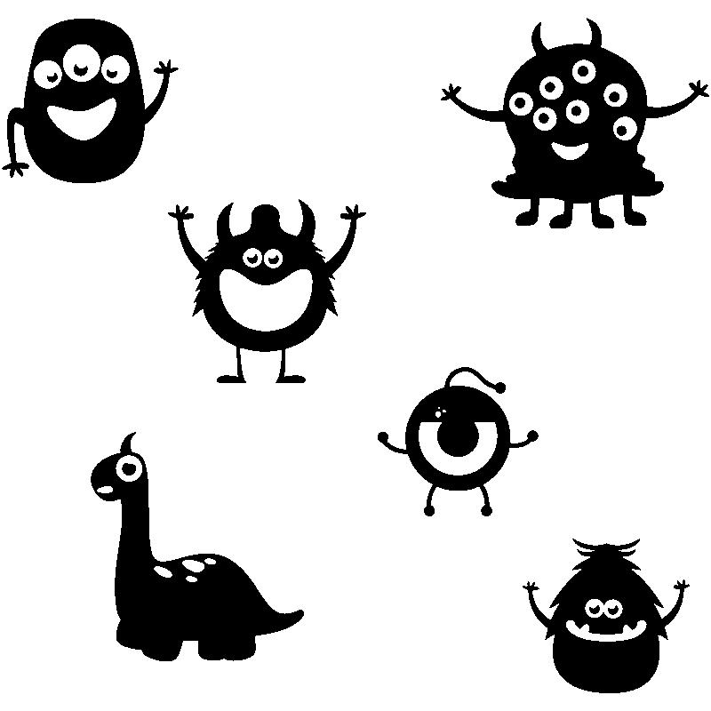 Sticker monstres rigolos stickers b b s gar on - Images de monstres rigolos ...