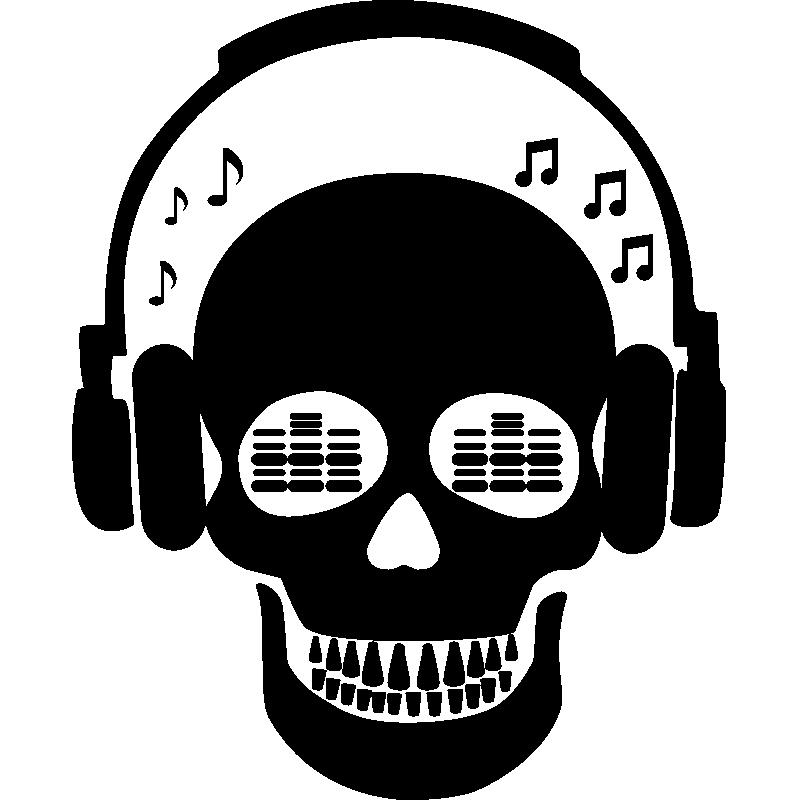 sticker musique dj squelette stickers musique cinema musique ambiance sticker. Black Bedroom Furniture Sets. Home Design Ideas