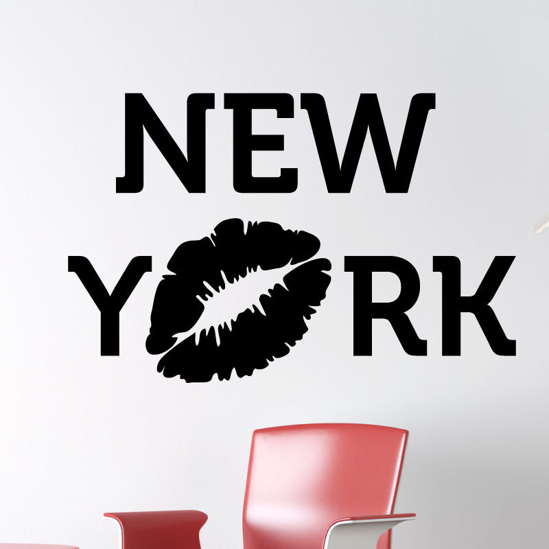 stickers muraux pays et villes sticker new york avec baiser ambiance. Black Bedroom Furniture Sets. Home Design Ideas