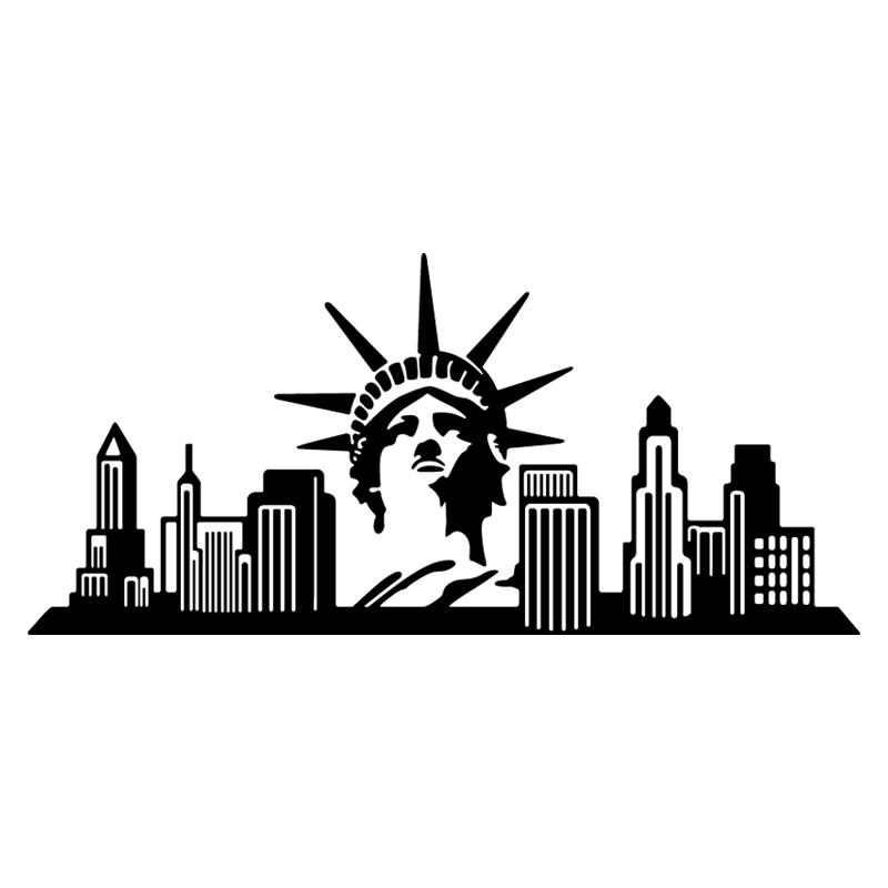 stickers muraux pays et villes sticker new york et la statue de la libert ambiance. Black Bedroom Furniture Sets. Home Design Ideas