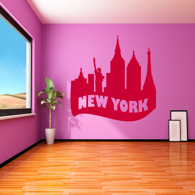 skyline new york wandtattoo cheap skyline new york. Black Bedroom Furniture Sets. Home Design Ideas