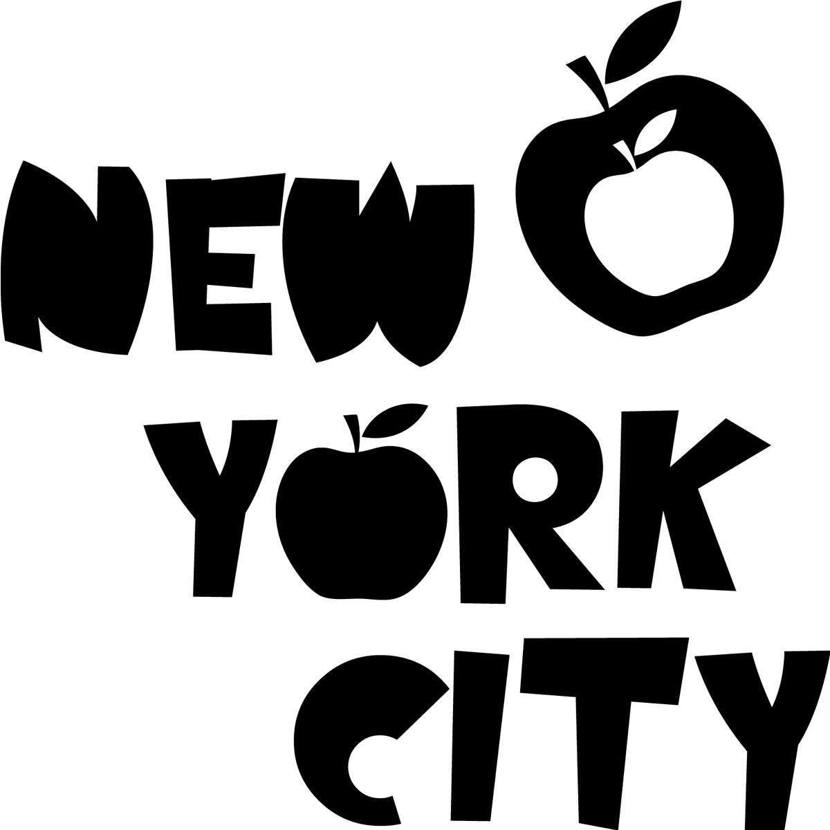 stickers muraux new york sticker new york et pommes ambiance. Black Bedroom Furniture Sets. Home Design Ideas