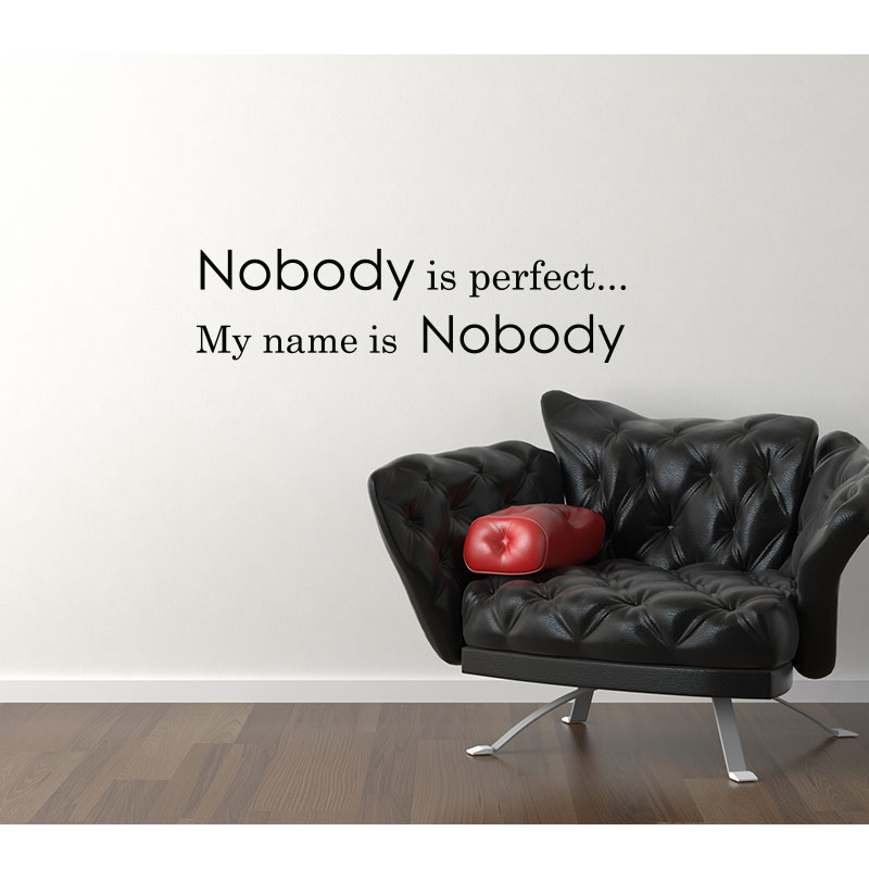 stickers nobody is perfect stickers muraux texte. Black Bedroom Furniture Sets. Home Design Ideas