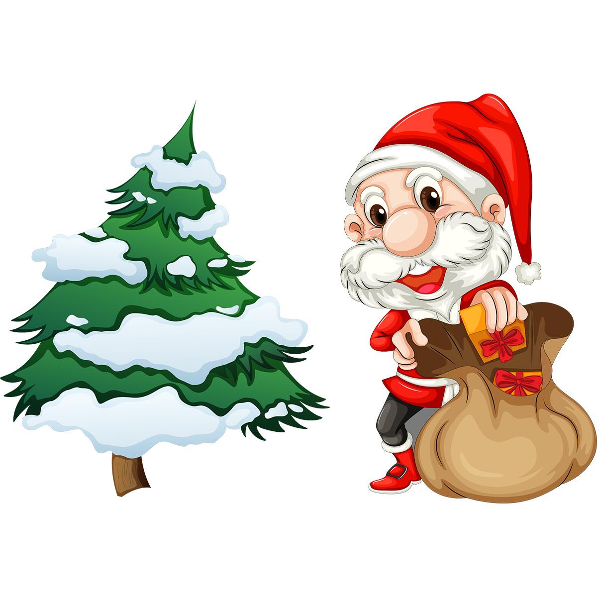 Sticker Noël le petit Père Noël et son sapin – Stickers ...