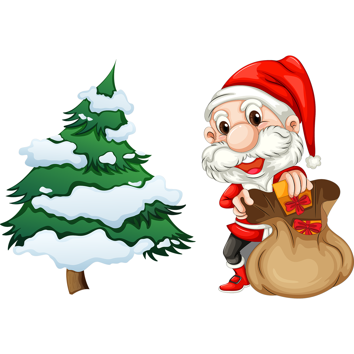 Sticker no l le petit p re no l et son sapin stickers - Pere noel sapin ...