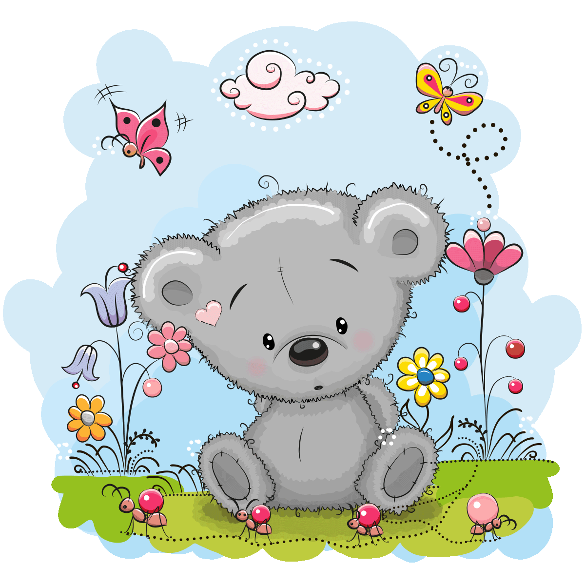 Sticker nounours timide et les papillons stickers nature for Stickers nounours pour chambre bebe