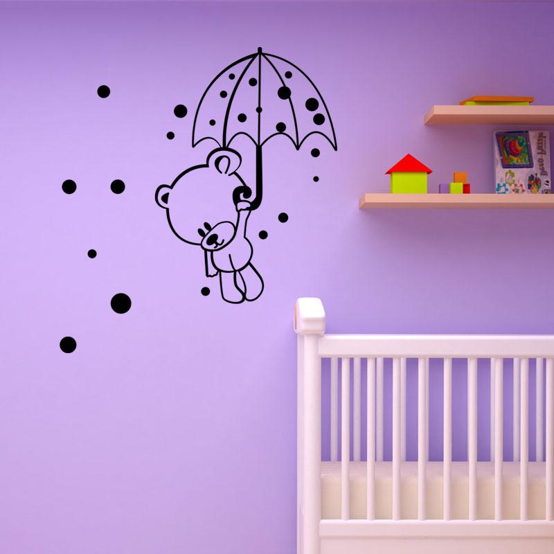 sticker nounours volant avec son parapluie stickers b b s fille ambiance sticker. Black Bedroom Furniture Sets. Home Design Ideas
