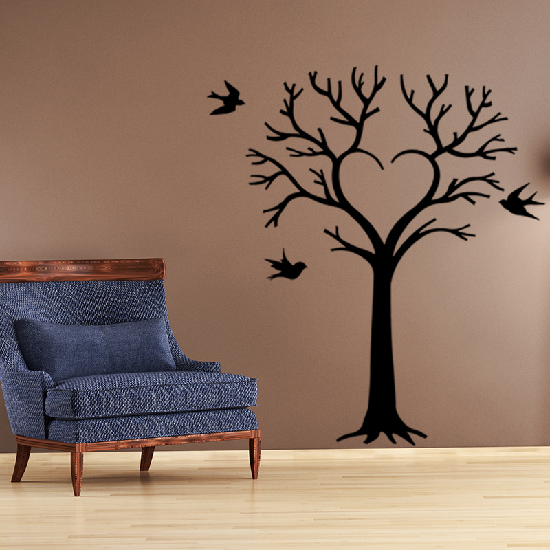 sticker oiseaux et arbre en coeur stickers nature arbres. Black Bedroom Furniture Sets. Home Design Ideas