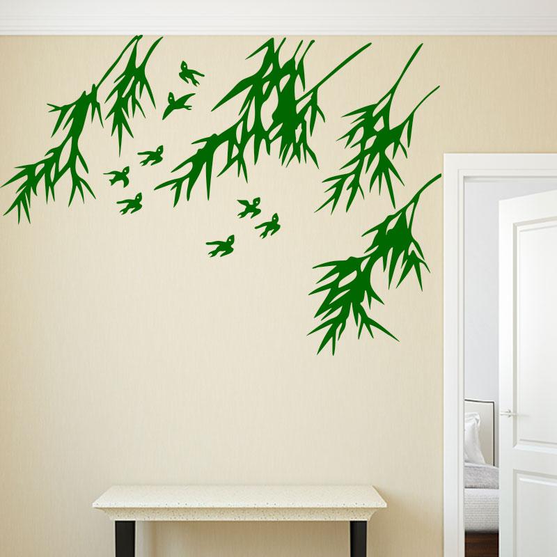 Sticker Oiseaux Et Feuilles De Bambou – Stickers Nature Arbres