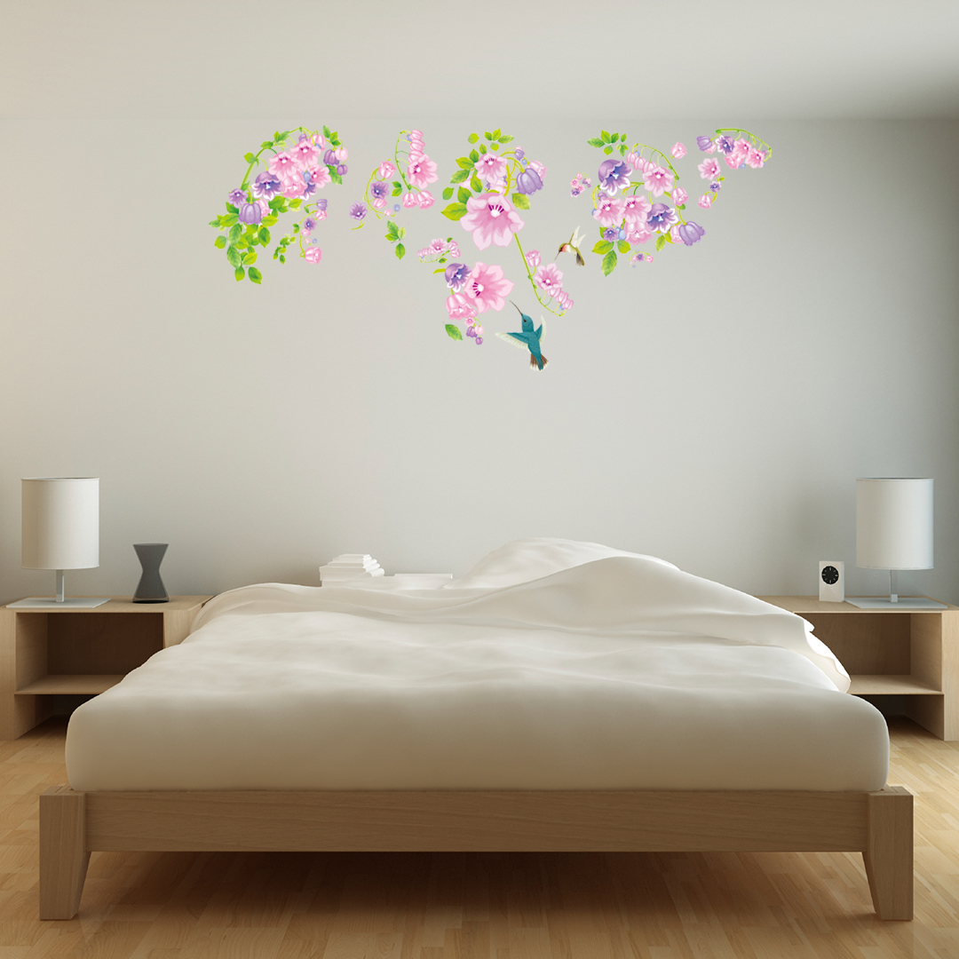 stickers muraux animaux sticker oiseaux et fleurs violettes ambiance. Black Bedroom Furniture Sets. Home Design Ideas