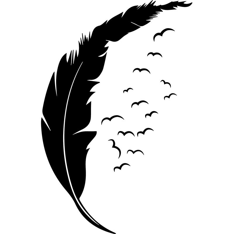 sticker oiseaux et plume au vent stickers animaux. Black Bedroom Furniture Sets. Home Design Ideas