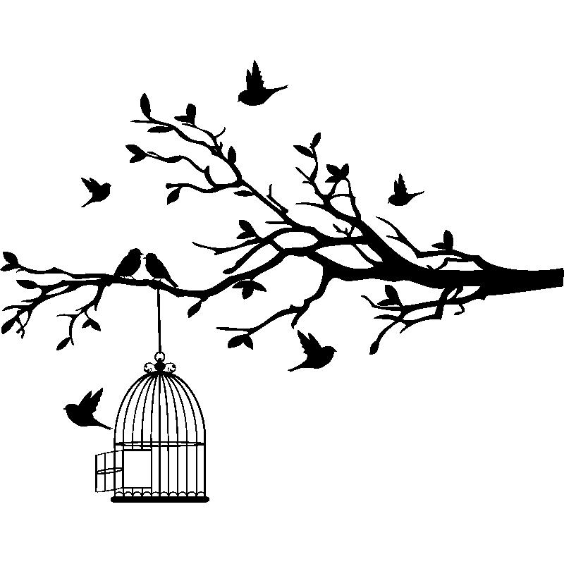 sticker oiseaux sur branche s 39 chappent de leurs cage stickers nature arbres ambiance sticker. Black Bedroom Furniture Sets. Home Design Ideas