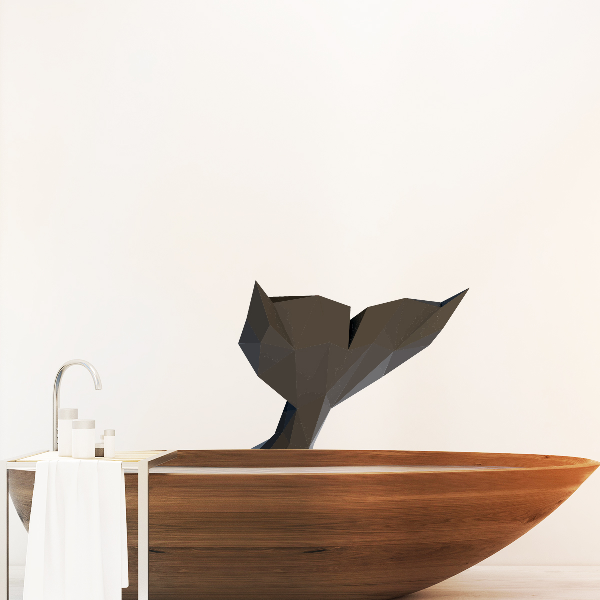 Sticker origami 3d queue de baleine noir de profil stickers animaux animaux marins ambiance - Animaux origami 3d ...