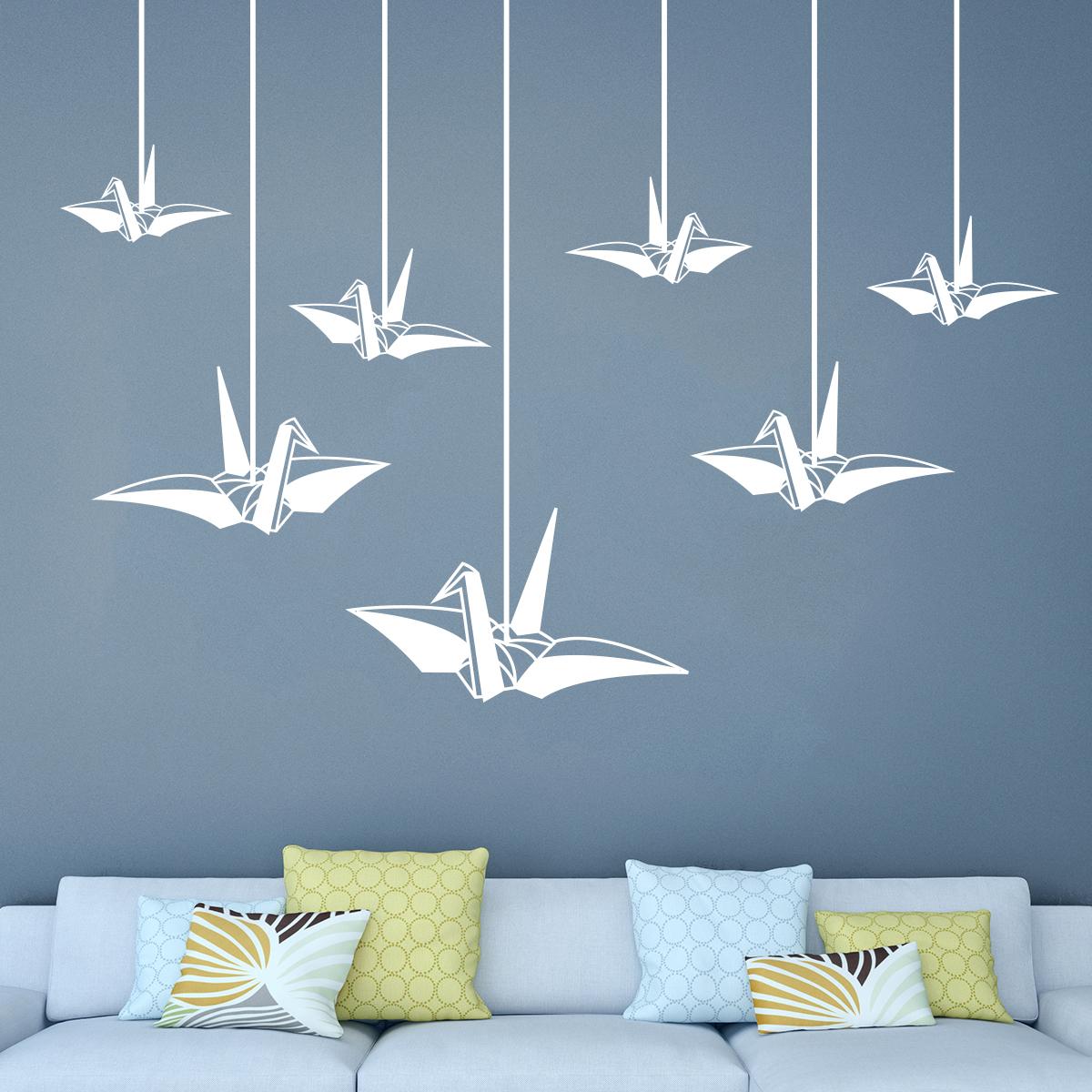 sticker origami 7 cygnes volants stickers animaux oiseaux ambiance sticker. Black Bedroom Furniture Sets. Home Design Ideas