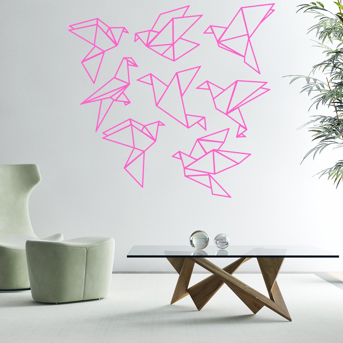 sticker origami 8 oiseaux stickers animaux oiseaux ambiance sticker. Black Bedroom Furniture Sets. Home Design Ideas