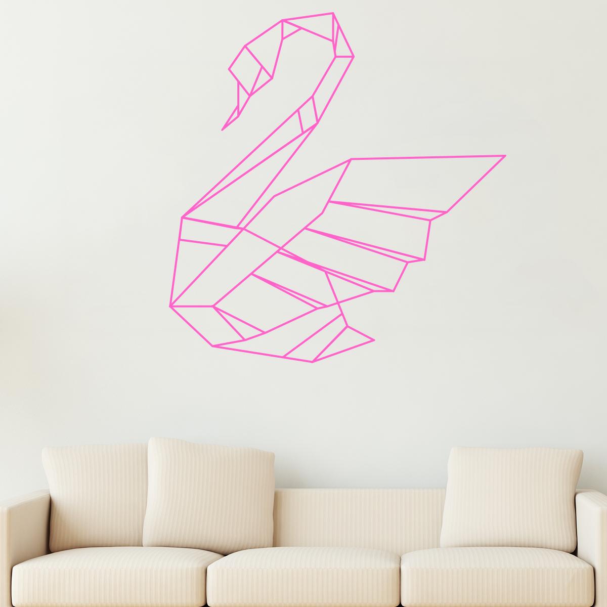 sticker origami cygne stickers animaux oiseaux ambiance sticker. Black Bedroom Furniture Sets. Home Design Ideas