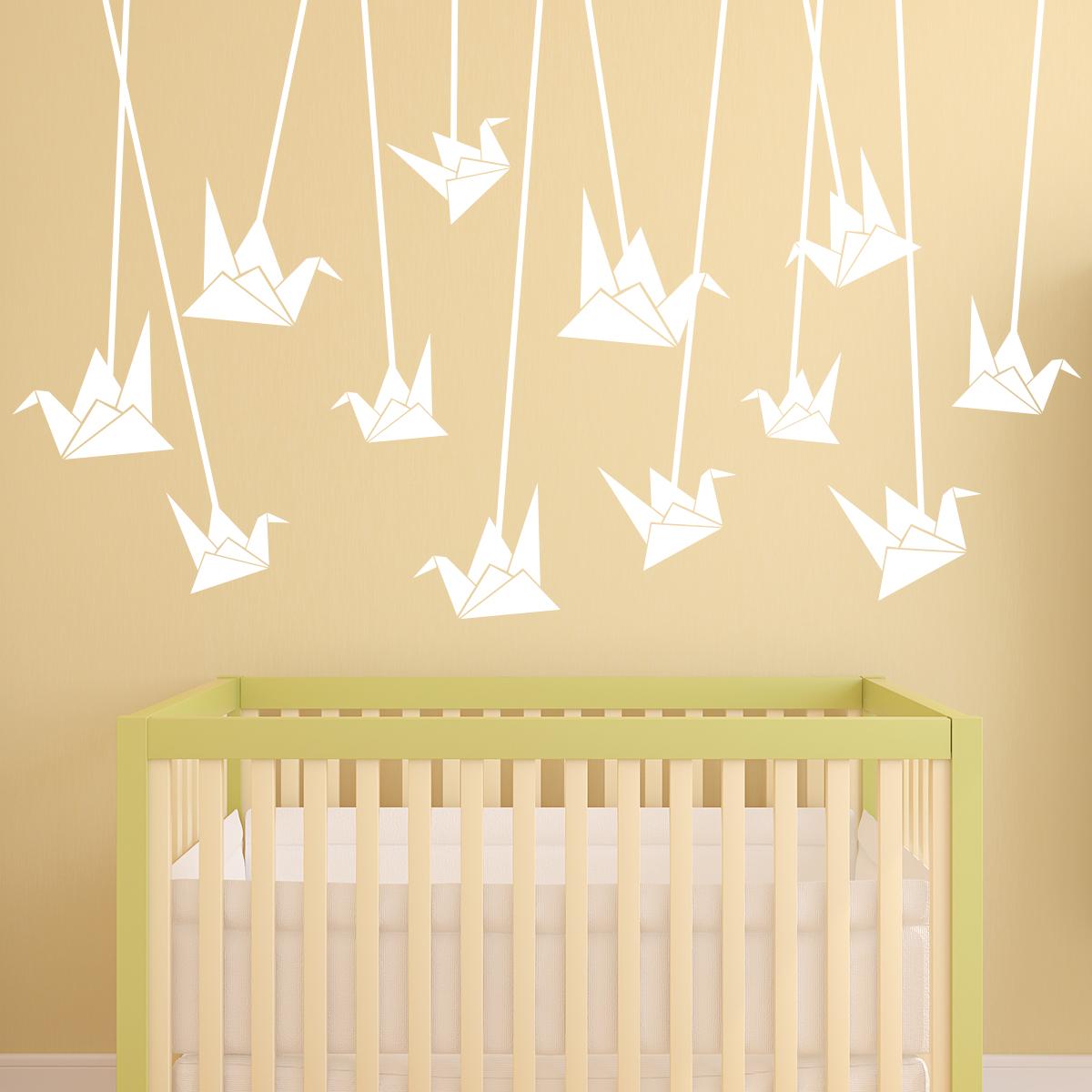 sticker origami cygnes suspendus stickers animaux oiseaux ambiance sticker. Black Bedroom Furniture Sets. Home Design Ideas
