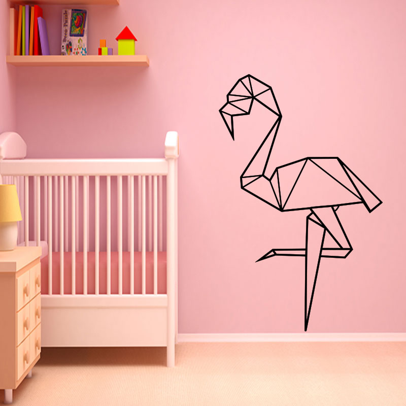sticker origami flamant rose stickers animaux ambiance sticker. Black Bedroom Furniture Sets. Home Design Ideas