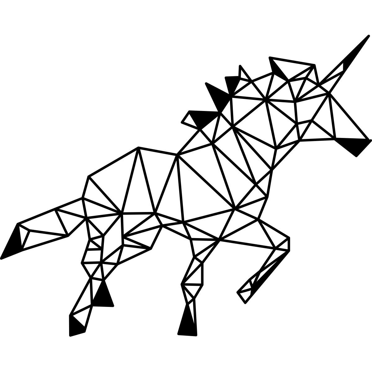 Sticker origami licorne stickers animaux chevaux ambiance sticker - Coloriage geometrique ...