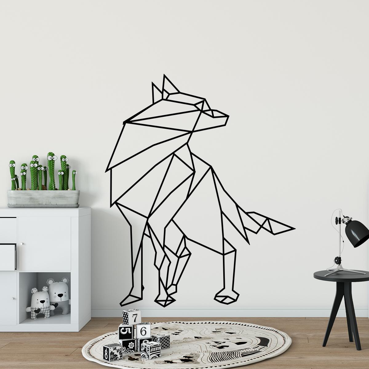 sticker origami loup stickers art et design artistiques ambiance sticker. Black Bedroom Furniture Sets. Home Design Ideas