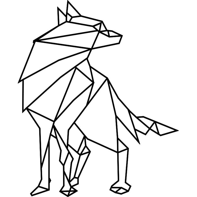 sticker origami loup  u2013 stickers art et design artistiques