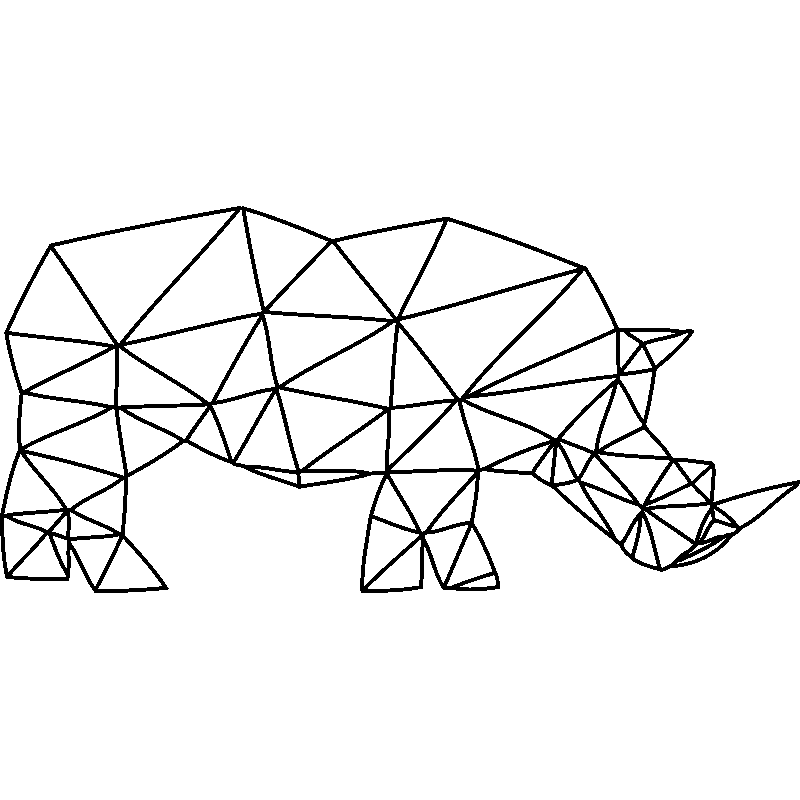 Sticker origami rhinoc ros stickers animaux animaux d - Rhinoceros dessin ...