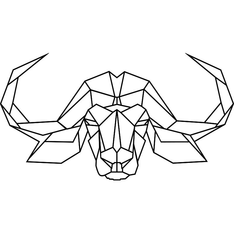 sticker origami t te de bison stickers chambre t tes de. Black Bedroom Furniture Sets. Home Design Ideas