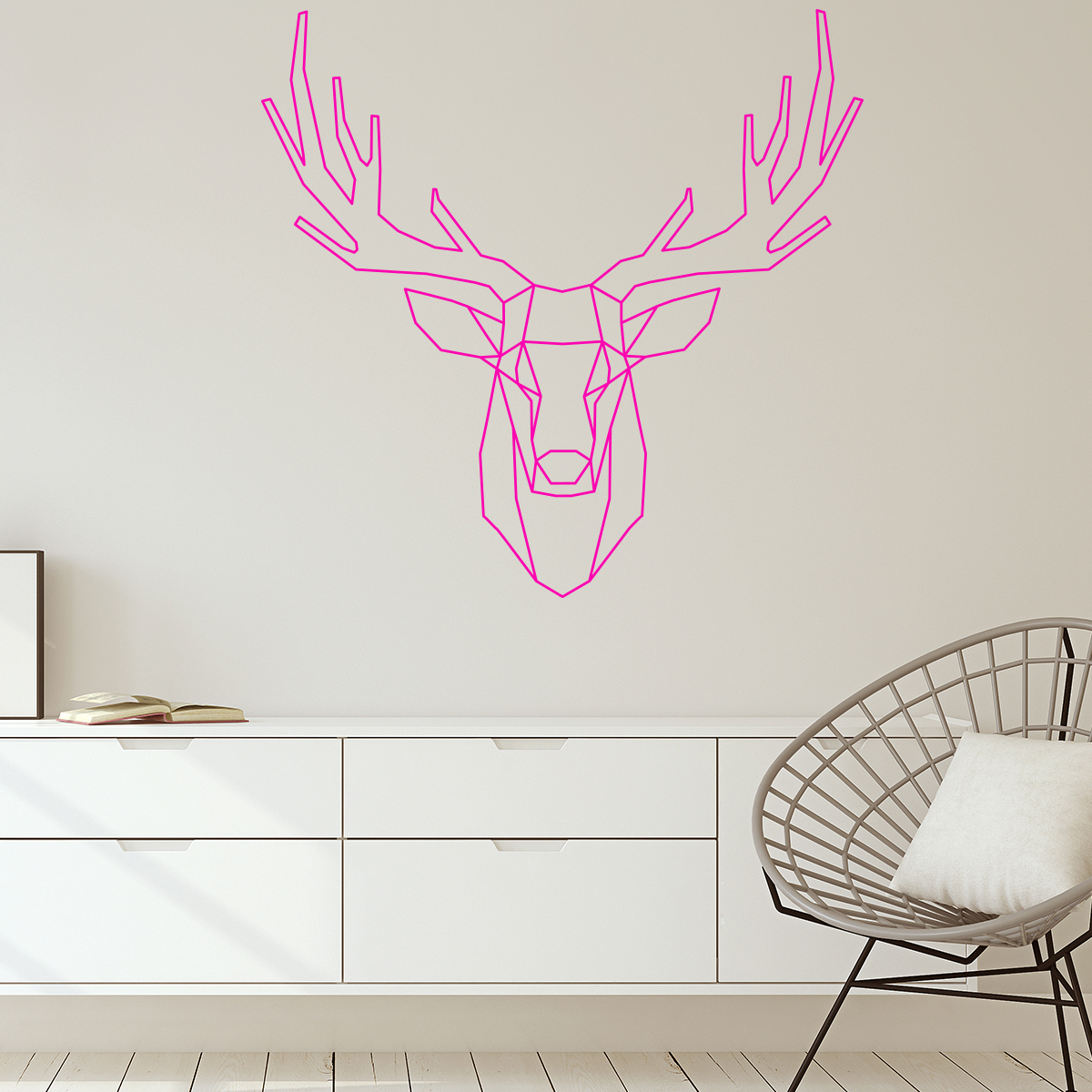 sticker origami t te de cerf stickers animaux animaux de. Black Bedroom Furniture Sets. Home Design Ideas