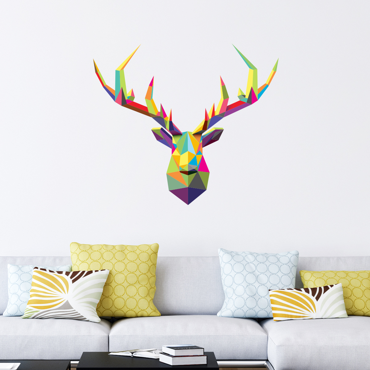 sticker origami t te de cerf multicolore stickers. Black Bedroom Furniture Sets. Home Design Ideas