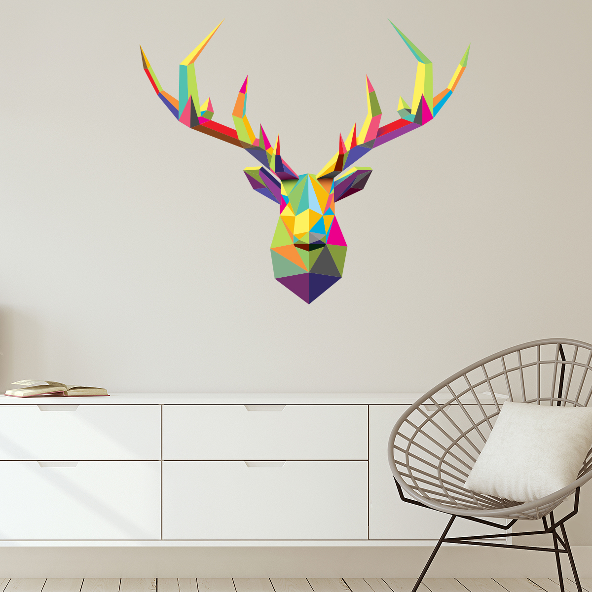sticker origami t te de cerf multicolore stickers. Black Bedroom Furniture Sets. Home Design Ideas