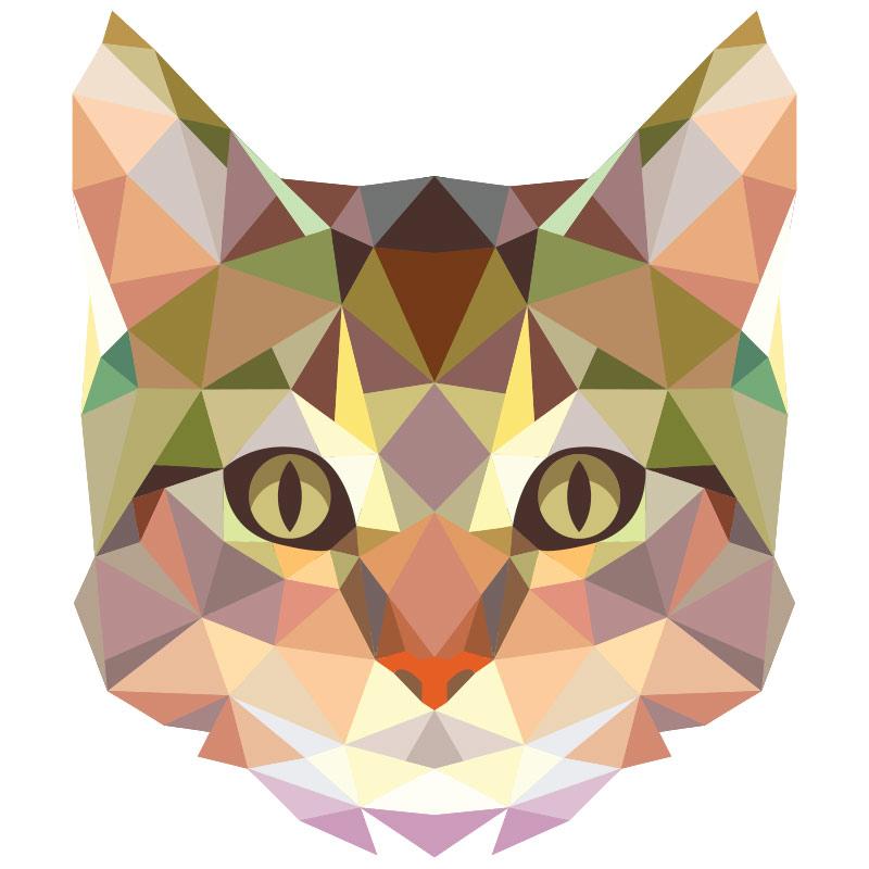 sticker origami t te de chat stickers chambre ado fille. Black Bedroom Furniture Sets. Home Design Ideas