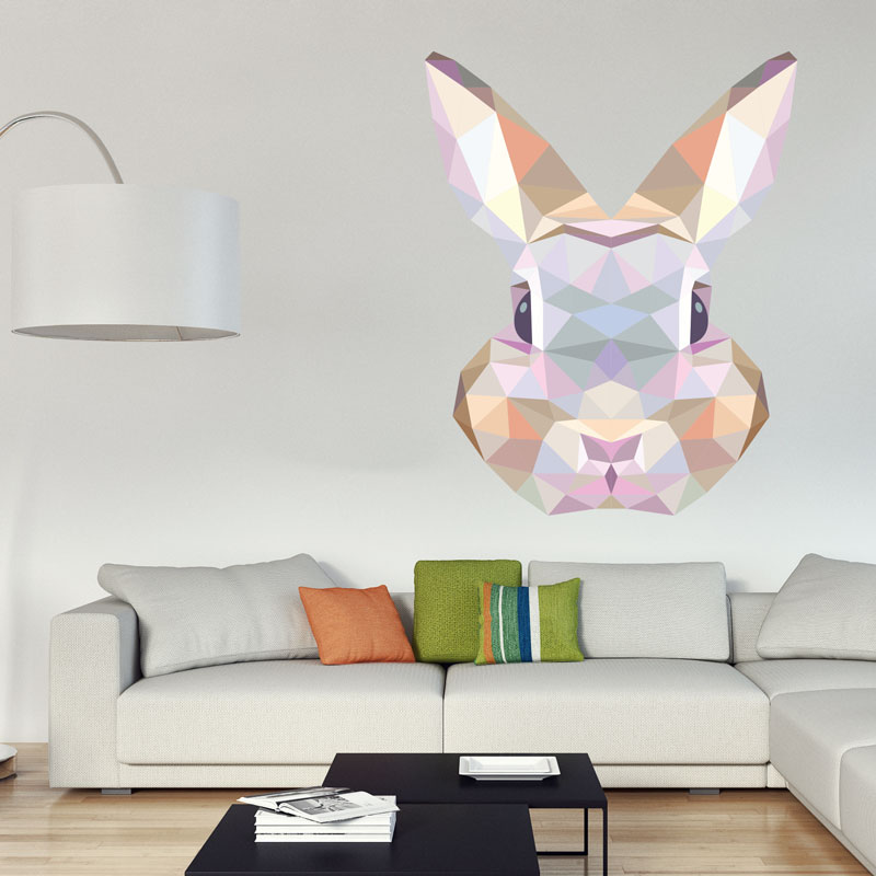 sticker origami t te de lapin stickers animaux animaux. Black Bedroom Furniture Sets. Home Design Ideas