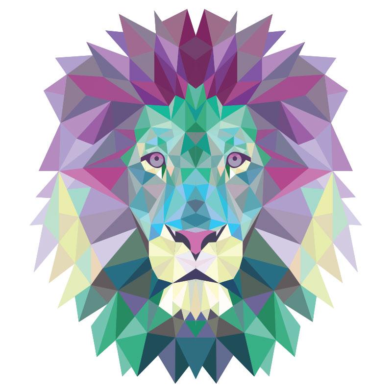 sticker origami t te de lion stickers animaux animaux de la jungle ambiance sticker. Black Bedroom Furniture Sets. Home Design Ideas