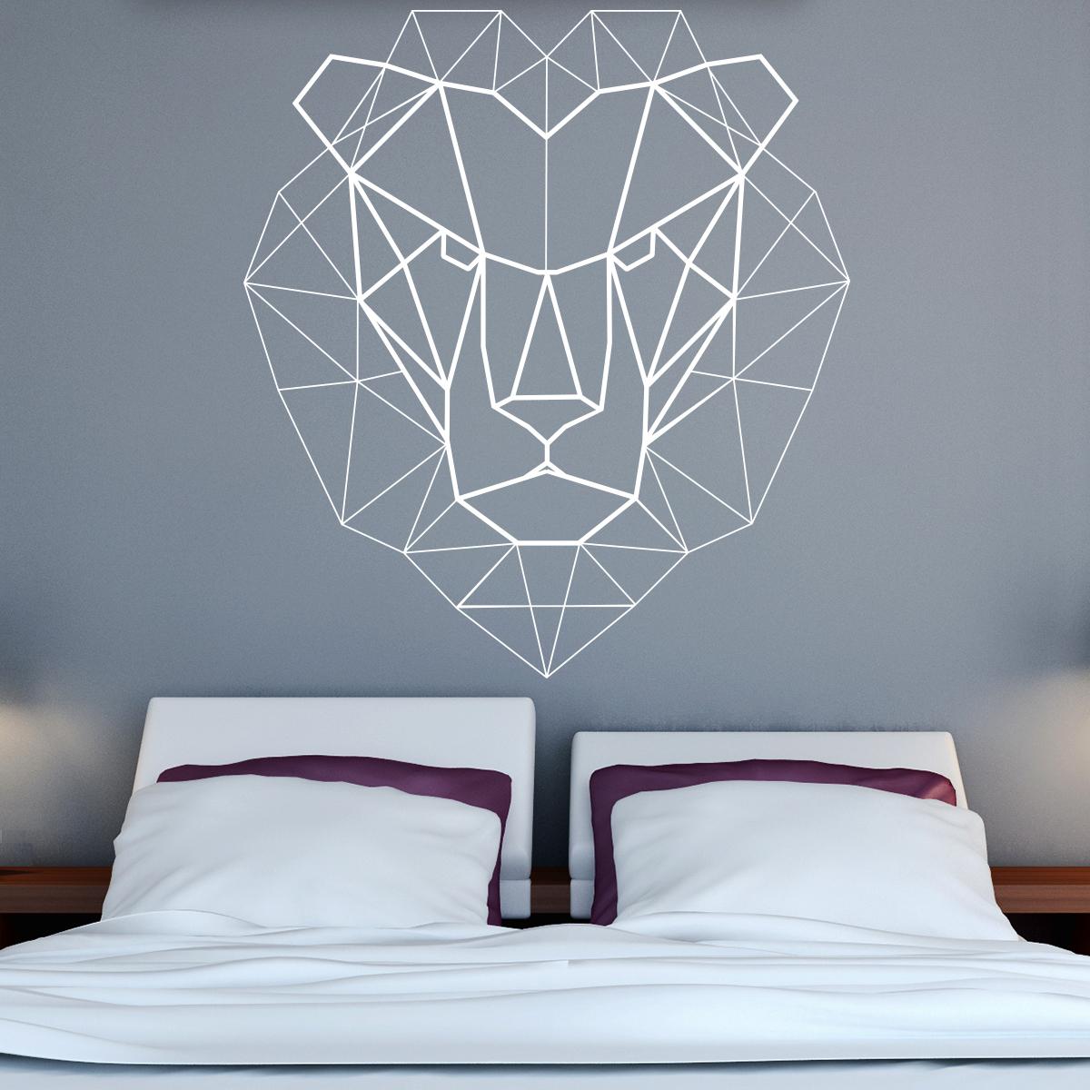 sticker origami t te de lion design stickers animaux animaux d 39 afrique ambiance sticker. Black Bedroom Furniture Sets. Home Design Ideas