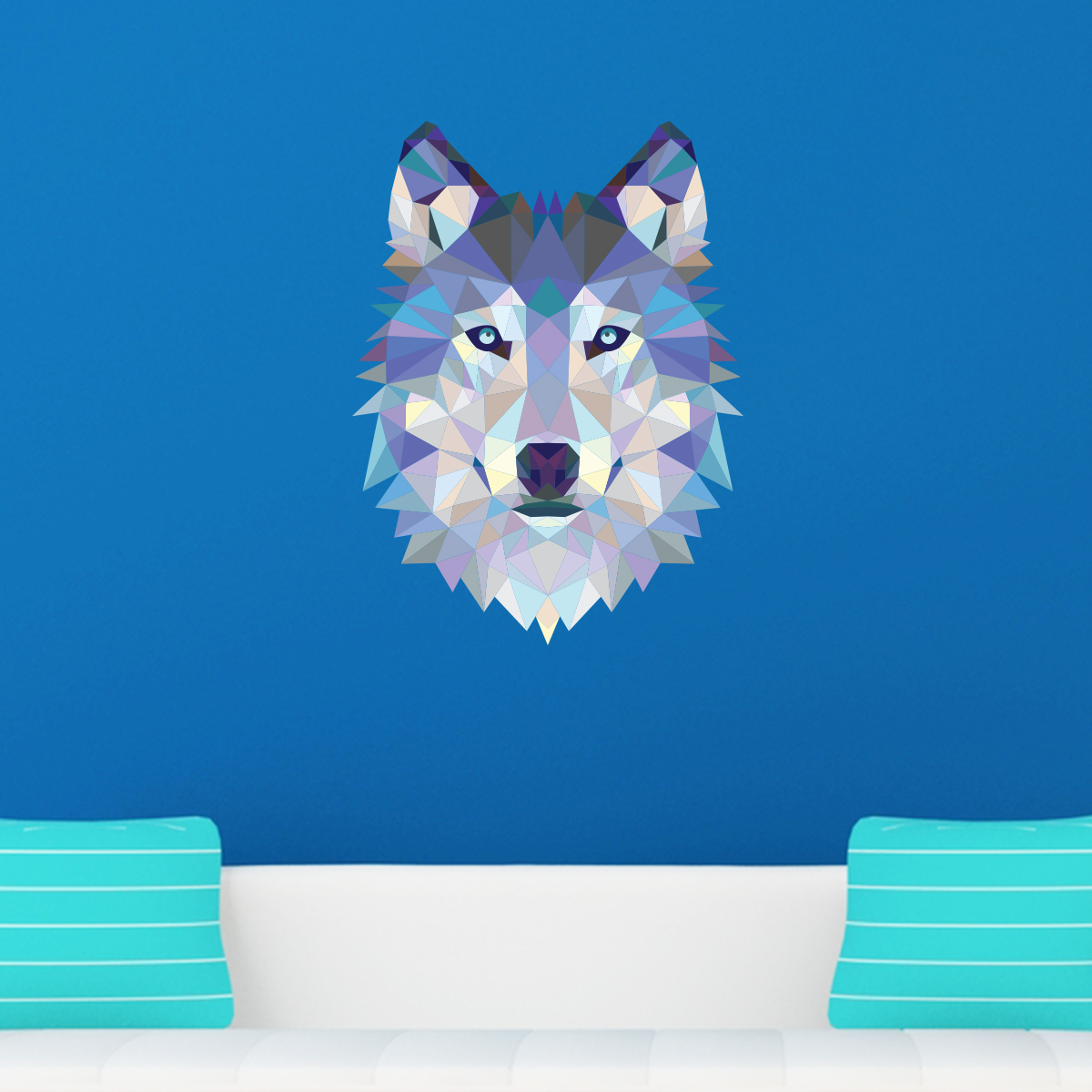sticker origami t te de loup stickers chambre ado gar on ambiance sticker. Black Bedroom Furniture Sets. Home Design Ideas