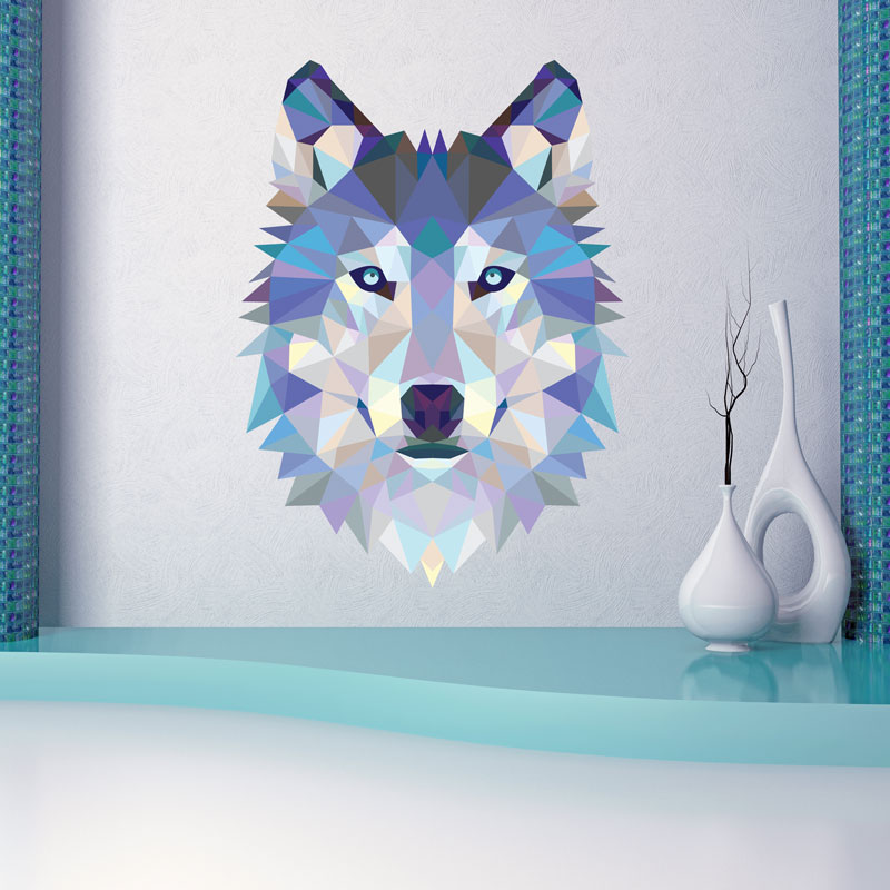 sticker origami t te de loup stickers chambre ado gar on ambiance sticker. Black Bedroom Furniture Sets. Home Design Ideas