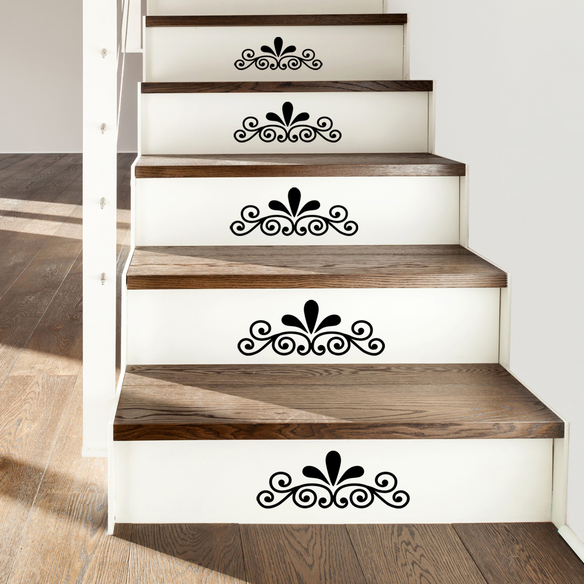 stickers muraux design sticker mural ornement pour escalier ambiance. Black Bedroom Furniture Sets. Home Design Ideas