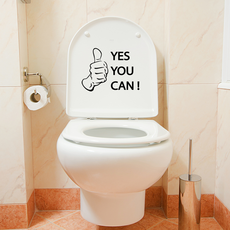 Sticker yes you can stickers salle de bain wc for Salle de bain you