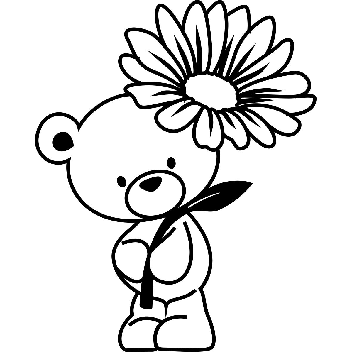 sticker ours avec une fleur stickers nature fleurs ambiance sticker. Black Bedroom Furniture Sets. Home Design Ideas
