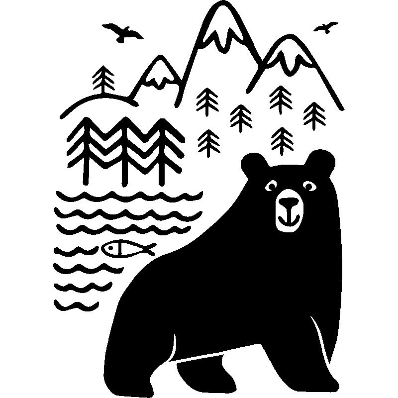 sticker ours dans la for t stickers nature arbres ambiance sticker. Black Bedroom Furniture Sets. Home Design Ideas