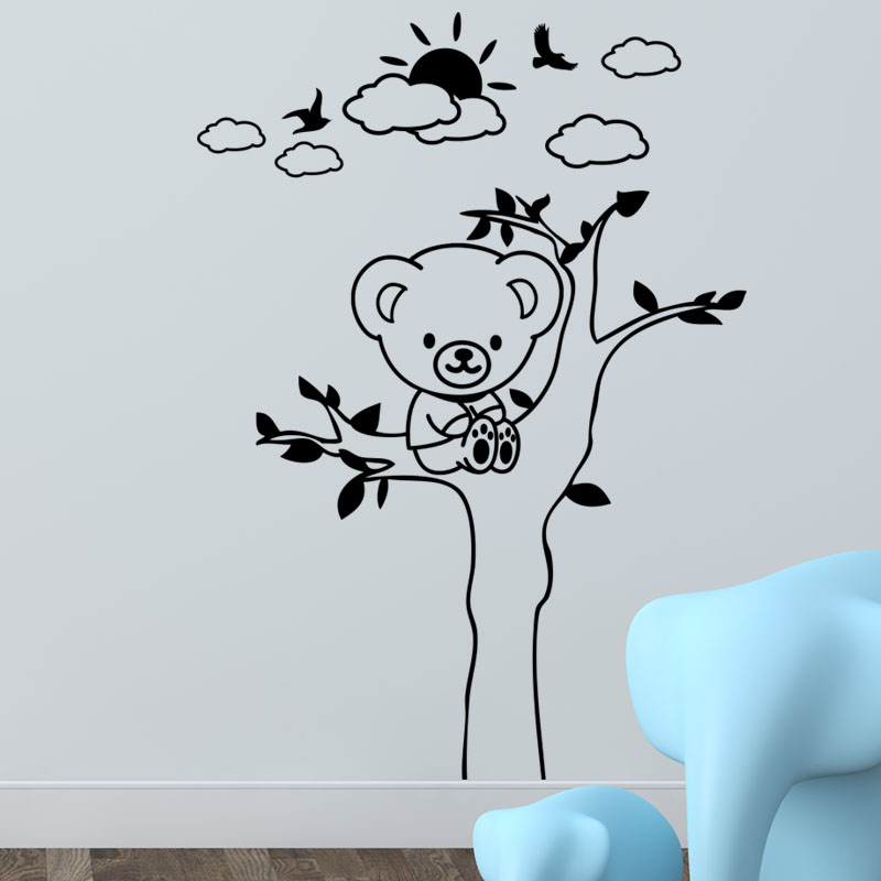 sticker ours en peluche sur arbre stickers nature arbres. Black Bedroom Furniture Sets. Home Design Ideas