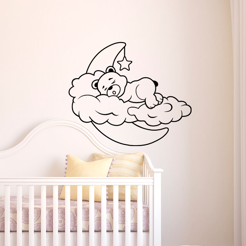 sticker ours endormi sur nuage et lune stickers b b s. Black Bedroom Furniture Sets. Home Design Ideas